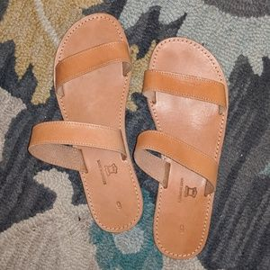 NEW Greek LEATHER slide sandals